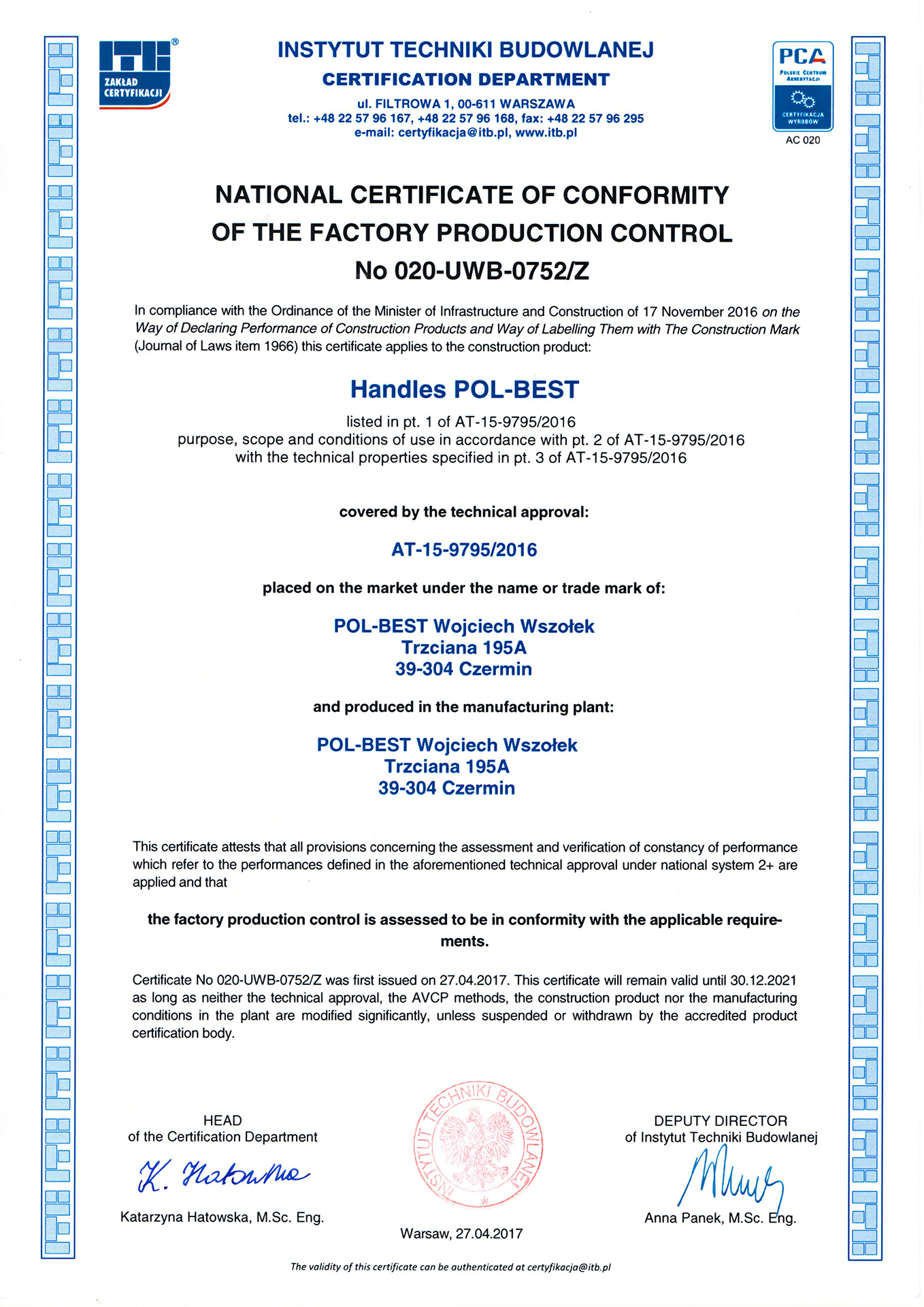 conformity fpc certificate national pol
